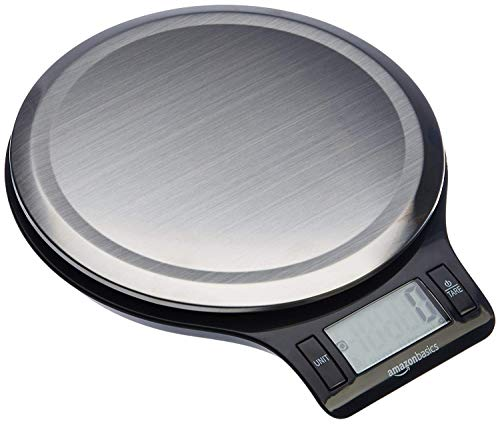 AmazonBasics Stainless Steel Digital Kitchen Scale with LCD Display (Batteries Included) , 5Kg (Black)