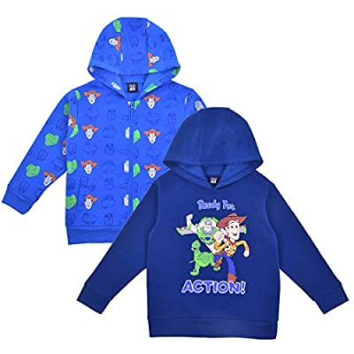 GET 2 DISNEY HOODIES: Dress him up fashionably for winter without spending much with Disney's 2-Piece Hoodies for Boys Set. Get 1 zip up hoodie and 1 pullover hoodie with soft odorless prints of Disney characters -Woody, Buzz Lightyear and the adorab...