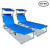 VOUNOT Lot de 2 Chaise Longue Bain de Soleil avec Pare Soleil | Transat...