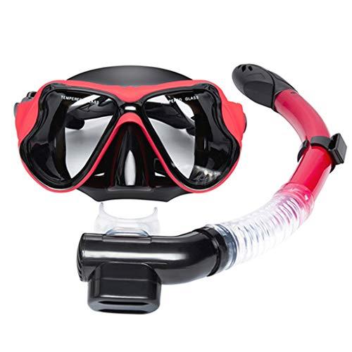 JS Occhiali Protettivi, Set da Snorkeling in Silicone per Adulti Completamente Asciutti Unisex per Immersioni, Set Snorkeling in Vetro Temperato Antiappannamento HD