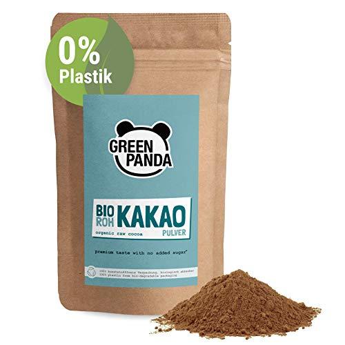 GREEN PANDA® Bio Kakaopulver aus Premium Kakaobohnen | stark entölt und zuckerfrei | Rohkakao für Heisse Schokolade, Shakes, Desserts, zum Backen oder ins Müsli | 500g