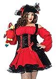 Leg Avenue Women's Plus Size Vixen Pirate Wench with Velvet Double lace up Corset Dress, Black/Red, 1X/ 2X