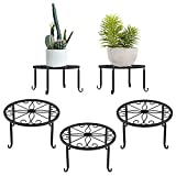 Lewondr Potted Plant Stand, 3 Pack Durable Metal Plant Stands 9 Inch Indoor Rustproof Iron Plant Holder for Garden Container Outdoor Round Supports for Planter - Black