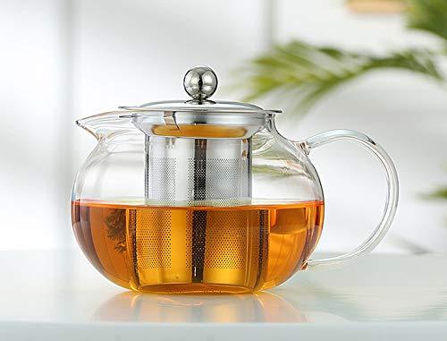 Teekanne Glas 1300ml mit abnehmbare Edelstahl-Sieb,Herdplattensichere Teekanne aus Glas, Hitzebeständig Borosilikatglas Dickes Glas Teebereiter, Glasteekannen Ideal zur Zubereitung von Losen Tees 1,4L