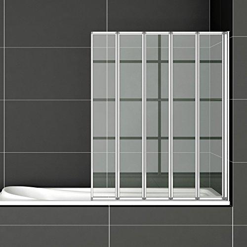 Faltwand Badewanne120x140cm Duschwand Badewannenfaltwand 5-teilig Duschabtrennung Badewannenaufsatz FF12