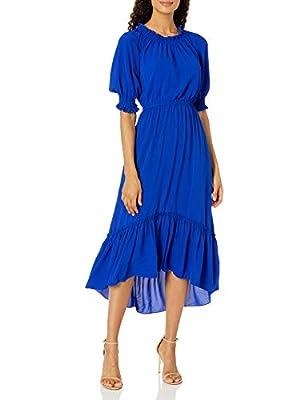 Short flutter sleeve Rould ruffled collar Elasticized waist Bubble crepe Maxi Dress