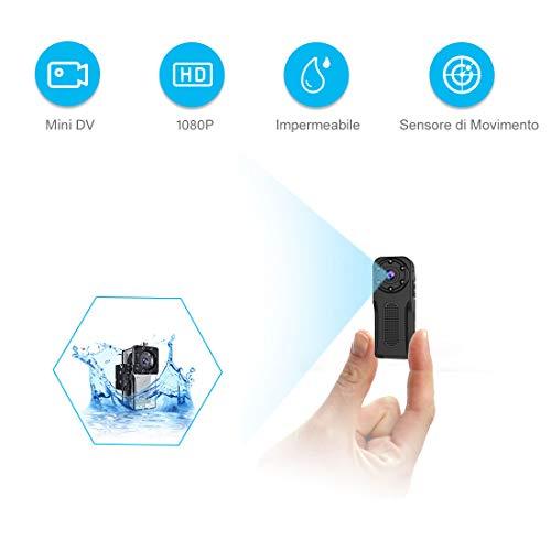 Mini Telecamera Spia Nascosta,NIYPS Full HD 1080P Subacquea Spy Cam Portatile Sena Fili con Registratore per Sensore di Movimento e Visione Notturna,Microcamera Spia Videosorveglianza Esterno/Interno