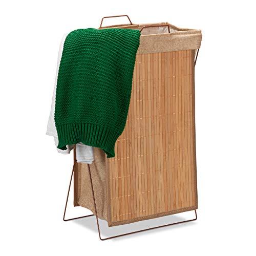 Relaxdays Wäschekorb Bambus, faltbar, 40 l, Metallgestell mit Griffen, Wäschesack, Wäschesammler, HBT 61x38x22cm, Natur