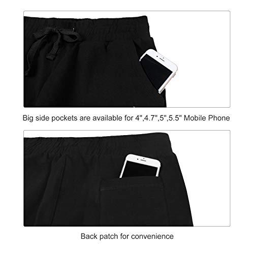 BALEAF Women's Active Yoga Lounge Indoor Jersey Capri Pocketed Walking Crop Pants Black Size L 4