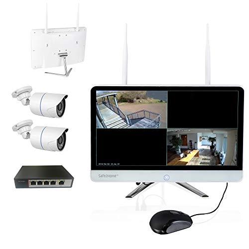 Safe2Home Videosorveglianza POE/radio con registrazione, set di registratori a 4 canali, 2 telecamere Full HD POE per visione notturna, telecamera di sorveglianza interna