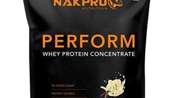 Nakpro PERFORM Whey Protein Supplement Powder, 23g Protein, 5.1 BCAA & 4g Glutamine – Vanilla (1 kg – 30 Servings)