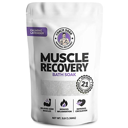 Coach Soak: Muscle Recovery Bath Soak - Natural Magnesium Muscle Relief & Joint Soother - 21 Minerals, Essential Oils & Dead Sea Salt - Absorbs Faster Than Epsom Salt for Soaking (Calming Lavender)