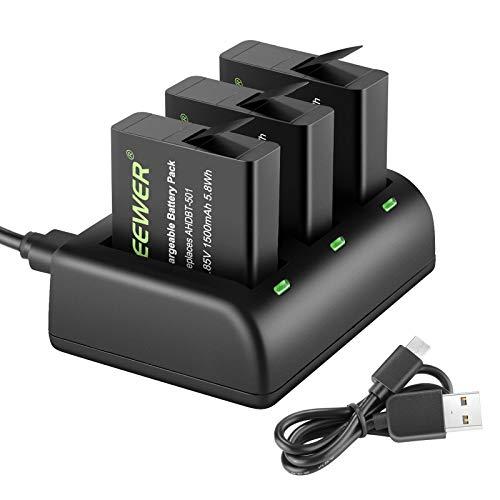 Neewer Kit di Caricabatterie e Batterie, Compatibile con Gopro Hero 5 Black/Hero(2018)/Hero 6/Hero 7 Black (3pz Batteria Sostitutiva 1500mAh AHDBT-501 & 3 Canali Caricabatterie a Micro USB)