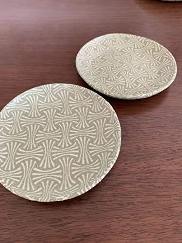 酒井美華 小皿 2枚セット irodori窯 イロドリ窯 練り込み 豆皿 緑 グリーン 和食器 熨斗柄