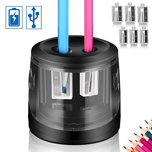 ARPDJK Elektrischer Anspitzer,USB & Batterie Netzbetrie, 6 Klingen, 2 Größen Automatisch Elektrisch Spitzer, Bleistiftspitzer Kurbel mit Behälter für Dreikantstifte und Buntstifte