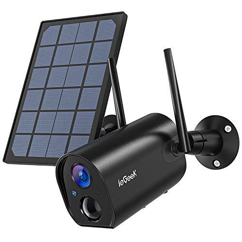 Telecamera WiFi Esterno Batteria Senza Fili con Solare Pannel, ieGeek Wi-Fi Videocamera di Sorveglianza, PIR e Rilevamento del Movimento, Visione Notturna 20m, IP65 Impermeabile