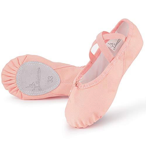 Soudittur Zapatillas Media Punta de Ballet - Calzado de Danza para Niña y Mujer Adultos Rosa Suela Partida de Cuero Tallas 30