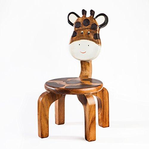 Kinderstuhl, Kinderhocker, massiv aus Holz mit Tiermotiv Mama Giraffe, 25 cm Sitzhöhe für unsere Kindersitzgruppe