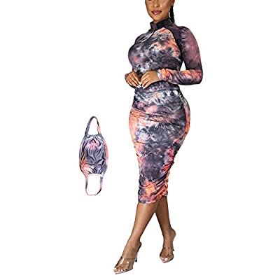 This Sexy Wrap Ruched Bodycon Midi Dress was made by 92% polyester, 8% spandex, soft, lightweight and stretchy Bodycon dress features zipper deep neck, long sleeveand pleated design .Wrap dress, suitable for cocktail party, night club and casual wear...
