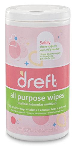Cleaning Wipes by Dreft Multi-Surface All-Purpose Gentle Cleaning Wipes for Baby Toys, Car Seat, High Chair & More, Pack of 4