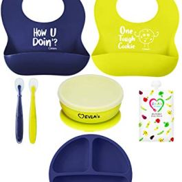 Baby Feeding Set   Silicone Bib Plates Bowls Spoons   Divided Plate Suction Bowl & Soft Spoon Aids Self Feeding   Adjustable Bib Easily Wipe Clean   Spend Less Time Cleaning Up After Toddler/Babies