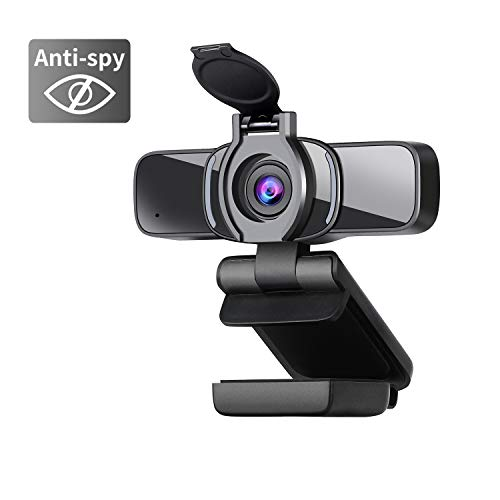Dericam - Webcam HD con copertura webcam, con microfono PC, Plug & Play per PC desktop, laptop,...