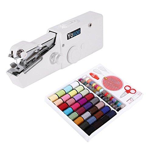Mini macchina da cucire portatile manuale + scatola fili da cucire, 64 bobine per cucito tessuto...