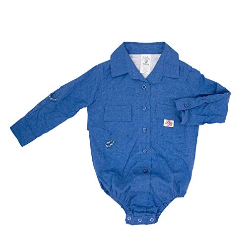 Bull Red Baby Boys DK Blue PFG Vented Fishing Shirt Button Up 1 Piece Snaps, 12m