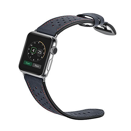 elobeth doble de piel auténtica para Apple Watch Band, iWatch Band Tour Correa de Reloj de cierre de repuesto Wrist Band para Apple Watch & Sport & Edition 38mm de (Gray)