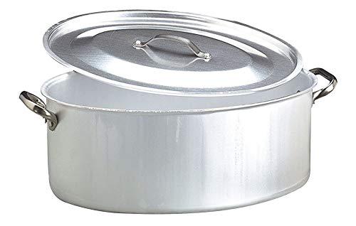 Pentole Agnelli ALMA12650 Alluminio Professionale 3 mm, Casseruola Ovale con Coperchio e 2 Maniglie, 50 x 36 cm