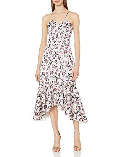 Floral chintz printed duchess satin fitted midi length dress with high low ruffle Samantha dress