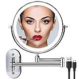 Recargable Espejo Maquillaje con Luz Aumento 1X / 10X, 8 Pulgad Baño de Pared Espejo Maquillaje con...