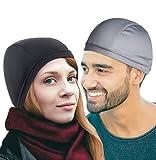 Badass Moto Helmet Liner Skull Caps for Men Sweat Wicking Cooling – 1 Gray and 1 Black Skull Cap for Men – High-Stretch Sports Cooling Helmet Liner Skull Cap Beanie for Men - 2 Pack