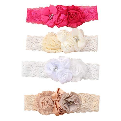 Lurrose 4 Unids Rosa Flor Encaje Cintas Para el Cabello Cinta Suave Turbante Bautizo Cabeza Wrap con Perlas para bebé infantil