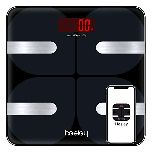 HESLEY Premium Smart Bluetooth Body Fat Weighing Scale with 18 Essential Measurements and ITO Conductive Glass,FDA Approved with Hesley App (Bluetooth Sensor Technology)
