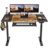 FEZIBO Dual Motor Height Adjustable Electric Standing Desk with Keyboard Tray, 55 x 24 Inch Sit Stand Table with Splice Board, Black Frame/Black and Rustic Brown Top
