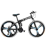 TOUNTLETS Mountain Bike, 26in Folding Mountain Bike Shimanos 21 Speed Bicycle Full Suspension MTB Bikes for Men/Women (Black)