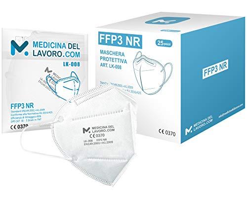 25 Mascherine FFP3 Certificate CE, Mascherina 5 Strati Senza Valvola, Maschera Facciale Protezione da Polvere e...