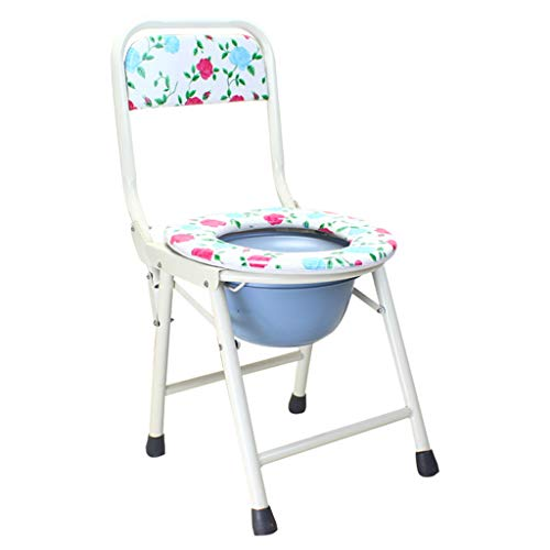 Folding Seat Bedside Commode Toilet Chair, Heavy-Duty Steel Medical Toilet Chair, 3 in 1 Shower Bath Chair with Backrest for Elder Disabled Pregnant Women