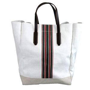 Gucci Men's 100 White Canvas Large Web Tall Tote Handbag 338964 17