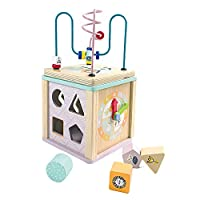 CLASSIC STACKING TOY: This set includes 5 smooth rings ,a solid wood base and a top. Great for developing color and size recognition of kids. Original wooden ball on the top, round dowel and smooth edge will not hurt your kids. Non-toxic and well pai...