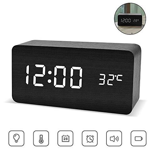 ASANMU LED Digitaler Wecker, Holz Wecker Digitalwecker Wecker Uhr in Holzoptik digital Anzeige von Uhrzeit Temperatur Datum Hölzerne Reisewecker Tischuhr Dekoration Alarm mit USB Kabel (Schwarz)