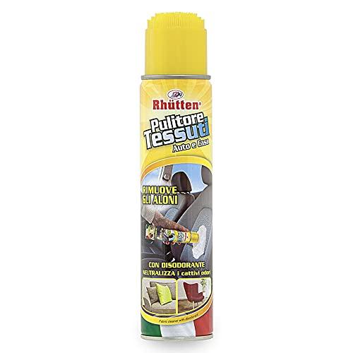 Rhtten, Pulitore Schiumogeno per la Pulizia dei Tessuti, Dotato di Spazzola per l'Applicazione del Detergente, Prodotto ad Azione Disodorante, per Interni dell'Auto, Tappeti, Poltrone, 400 ml