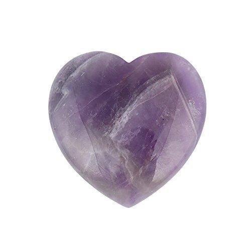 Bingcute Natural Amethyst Pocket Carved Puff Heart Pocket...
