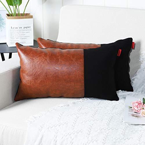 Mandioo Confezione da 2 lussuose Fodere per Cuscini Decorativi in Ecopelle e Cotone Set Federe per Cuscini Federe per Divano Divano Camera da Letto Auto 12x20 Inches Marrone e Nero
