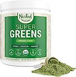 Super Greens | #1 Green Superfood Powder | 100% USDA Organic Non-GMO Vegan Supplement | 30 Servings | 20+ Whole Foods (Spirulina, Wheat Grass, Barley), Probiotics, Fiber & Enzymes (Original, 30 Servings)