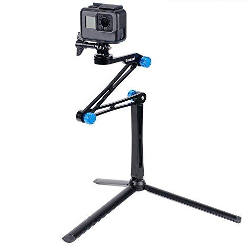 Smatree X1S Bastone Selfie Monopiede Telescopico Allungabile con Robusto Treppiede per GoPro Hero 2018, Hero 8/7/6/5/4/3/2/1/Fusion/Session, per Ricoh Theta S, Fotocamere Compatte e Smartphone