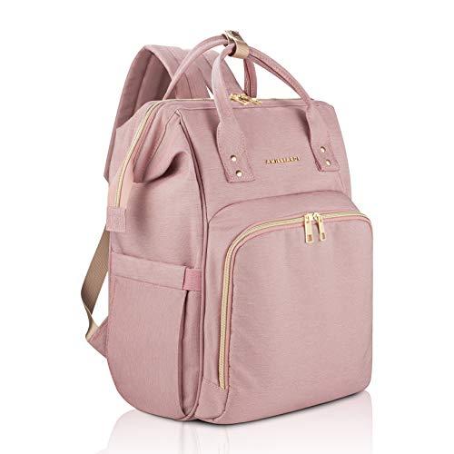 Diaper Bag Backpack - 6 Insulated Bottle Holders - Detachable Stroller Straps (Light Pink)