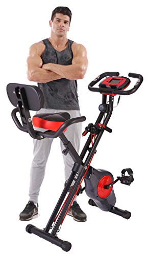 YYFITT Foldable Fitness Exercise Bike with Resistance Bands, 16 Magnetic Resistance Levels with Pulse Sensor, Phone/Tablet Holder with Smooth and Quiet Cycling