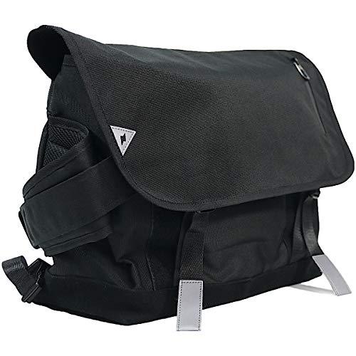 adelphos メッセンジャーバッグ 大容量 肉厚背面クッション付で疲れにくい 15.6インチPC収納可能 撥水 反射板材付 MBG2 (ブラックXL)